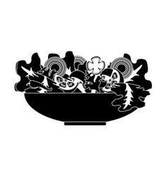 Contour delicious fresh organ salad in the bowl vector