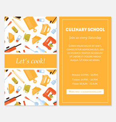 Cooking school banner template lets cook vector