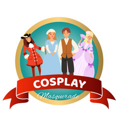 costume party with renaissance clothing woman man vector image