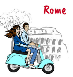 couple driving scooter in rome vector image