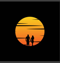couple with sunset background vector image