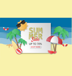 creative summer sale banner background paper cut vector image