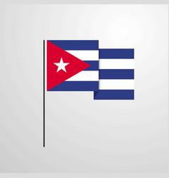 cuba waving flag design background vector image