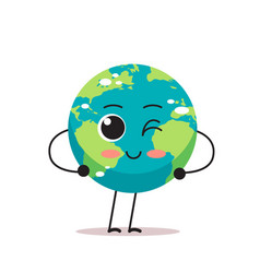 Cute earth character blinking cartoon mascot globe vector