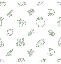 digital green vegetable icons set vector image