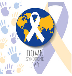 down syndrome day blue and yellow world ribbon vector image