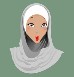 Emoticon muslim girl shock vector