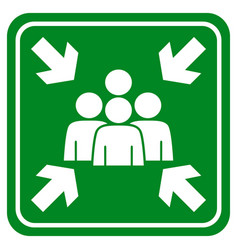 Fire assembly point on green and white vector