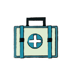 First aid kit medical emergency healthy icon vector