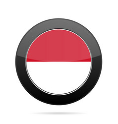 Flag of monaco shiny black round button vector