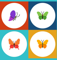 Flat moth set of danaus plexippus butterfly vector