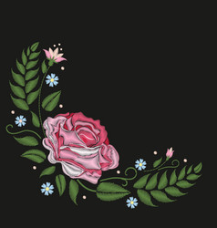 Flowers roses isolated on black background vector