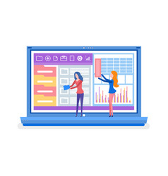Folder and chart in laptop app and website vector