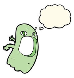 funny cartoon ghost with thought bubble vector image