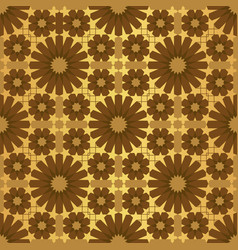Gold shiny moroccan motif tile pattern vector
