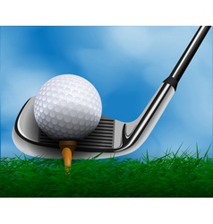 Golf ball and club in front of grass vector
