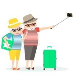 Grandmother and grandfather on trip vector image