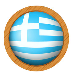 greece flag on round wooden badge vector image