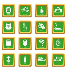 gym sport icons set green square vector image
