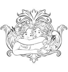 Hand drawn hugging cupids vector