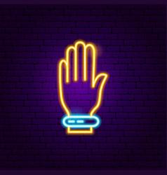 Hand smart device neon label vector
