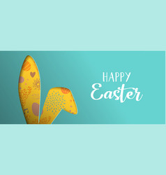 Happy easter spring banner with cutout bunny ears vector