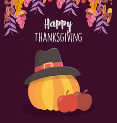 Happy thanksgiving day apples and pumpkin with vector