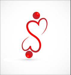 Heart partnership people together logo vector