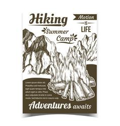 hiking summer camp sport adventures poster vector image