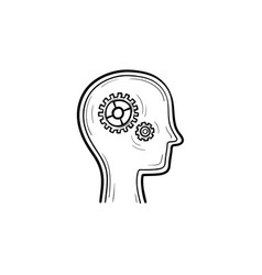 human head with gears hand drawn outline doodle vector image