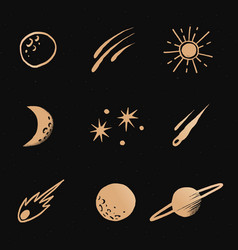 Interstellar star gold galaxy doodle sticker vector