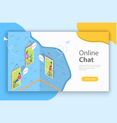 isometric concept landing page header for vector image