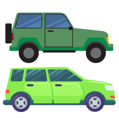 Large cars hotroad automobile green pickup jeep vector