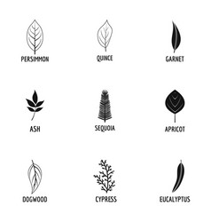 Leave icons set simple style vector