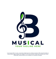 Letter b with music key note logo design element vector