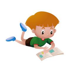 Little boy reading book alone vector