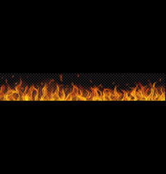 long fire flame with horizontal repeat vector image
