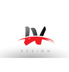 lv l v brush logo letters with red and black vector image