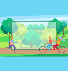 man on skate rollers and couple on bicycle in park vector image