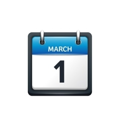 March 1 Calendar icon flat vector image