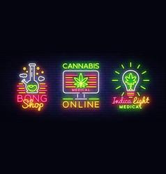Marijuana medical logos collection neon vector