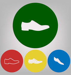 Men shoes sign 4 white styles of icon at vector