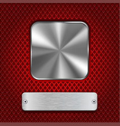 metal square button with rectangle plate on red vector image vector image