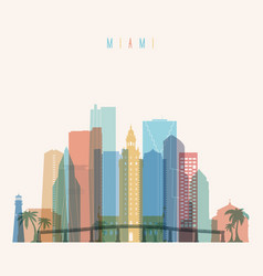 Miami state florida skyline detailed silhouette vector