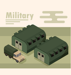 Military camp with barracks and truck transport vector