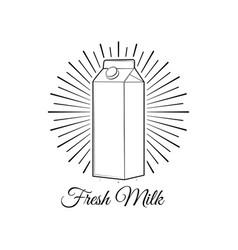 milk box in beams bottle label vector image