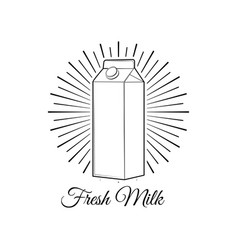 milk box in beams milk bottle label vector image