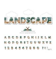modern landscape font paper cut out abc letters vector image