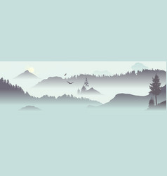 Mountain view with flying birds vector