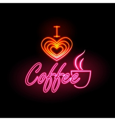 Neon sign I love coffee vector image